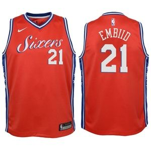 Youth Philadelphia 76ers Joel Embiid Jersey Red